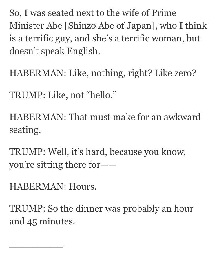 The First Lady of Japan may have pretended not to know English to avoid Trump. Hero.