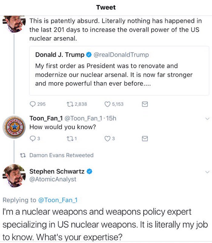 Weapons expert blasts off the perfect Twitter comeback.