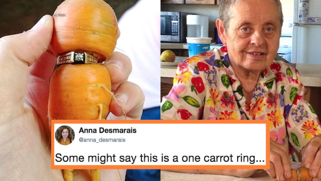 A woman lost her diamond ring and 13-years later it was found wrapped around a carrot.