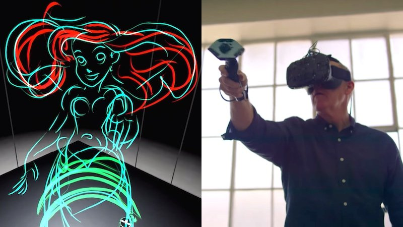 Legendary Disney animator draws Ariel and the Beast in 3D virtual reality, blows your mind.