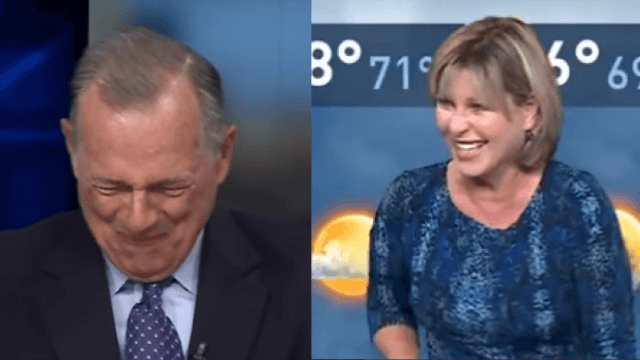 Newscasters totally lose it after accidental masturbation joke.