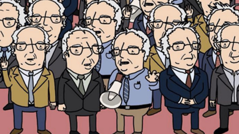 Can you find the Doc Brown hidden in this sea of Bernie Sanders?