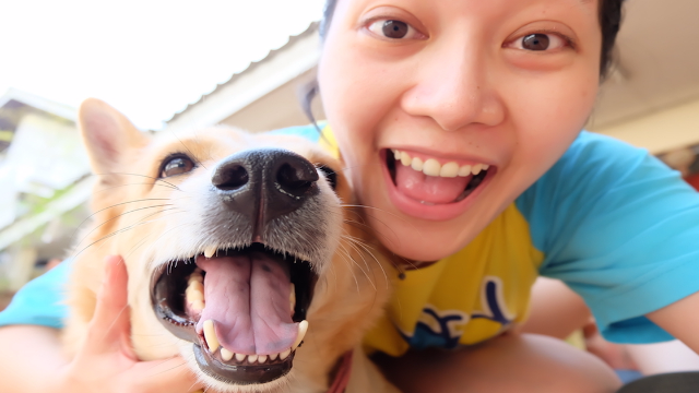 Selfies of people twinning with their pets are just pure joy.