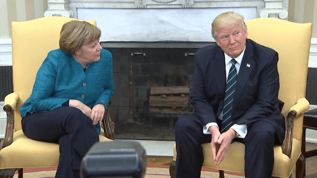 Donald Trump refused to shake Angela Merkel's hand and this international incident is now a meme.