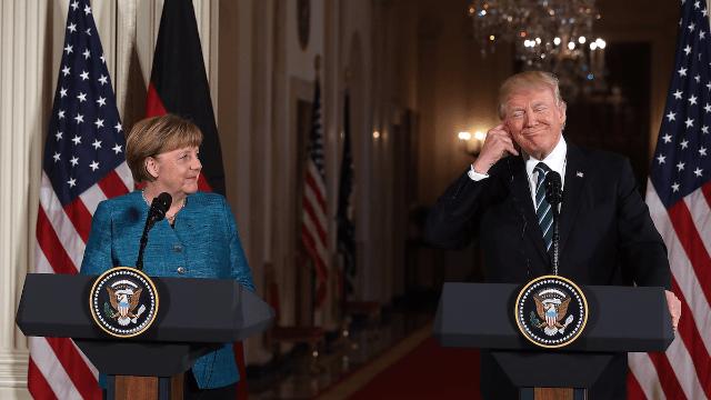 Trump finally tells his version of the time he refused to shake Angela Merkel's hand.