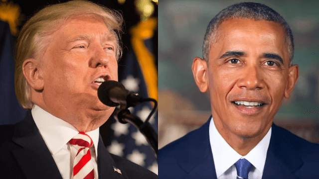 Trump attacks Obama in prolonged Monday morning Twitter rampage.