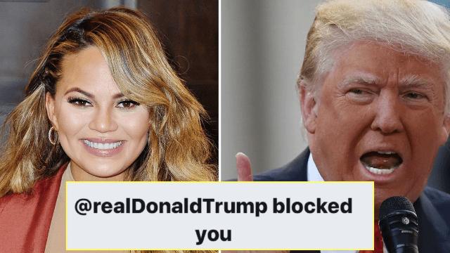 Donald Trump finally blocked Chrissy Teigen for going one tweet too far. Took long enough.