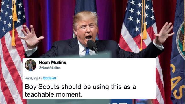 Donald Trump lies about Boy Scouts, internet gets a badge for tearing him apart.