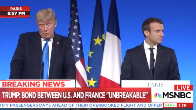 Emmanuel Macron served up some great side-eye during Trump's embarrassing middle school history lesson.