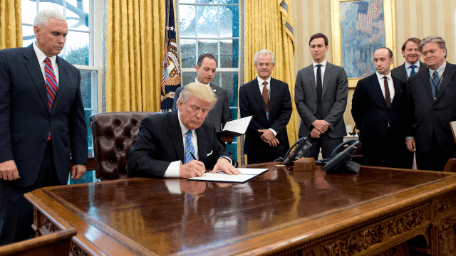What's wrong with this picture of Donald Trump & Co. signing an anti-abortion executive order?