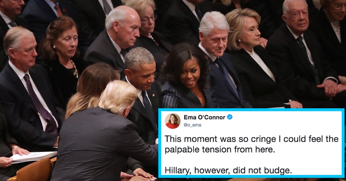 5 people who threw shade at Trump during George H.W. Bush's funeral. Hillary FTW.