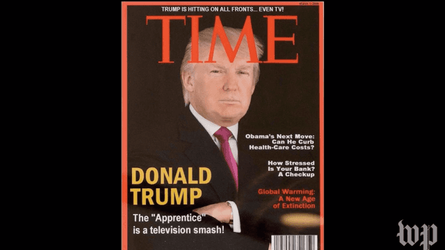 Donald Trump has this 'Time' magazine cover hanging in his golf clubs. It's fake.