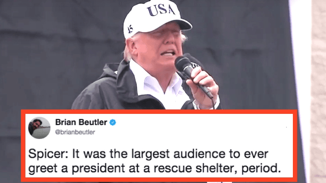 Trump celebrates crowd size of hurricane victims. Twitter turns out to drag him.