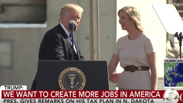 Trump creepily drags Ivanka on stage and says she calls him 'daddy.' Twitter barfs.