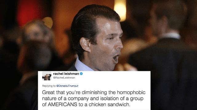 Donald Trump Jr. dragged for snide tweet mocking 'triggered' LGBT college students.