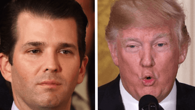 Don Jr. dressed as his dad on Halloween in a skin-tight American flag bodysuit. SAD!