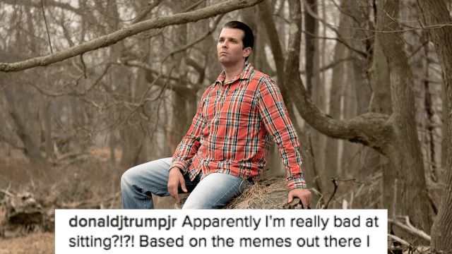 Donald Trump Jr. responds to the entire internet making fun of the way he sits.