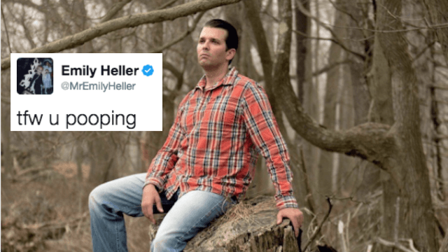 This photo of Donald Trump Jr. alone in the woods is the internet's latest meme.