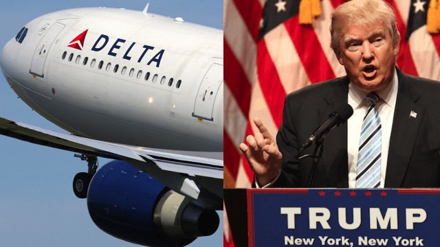 Trump says 'big problems' at airports over his immigration order were actually Delta Airlines' fault.