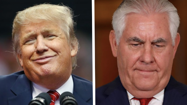 Trump ends his 'presidential' streak by calling his former Secretary of State a dumbass.