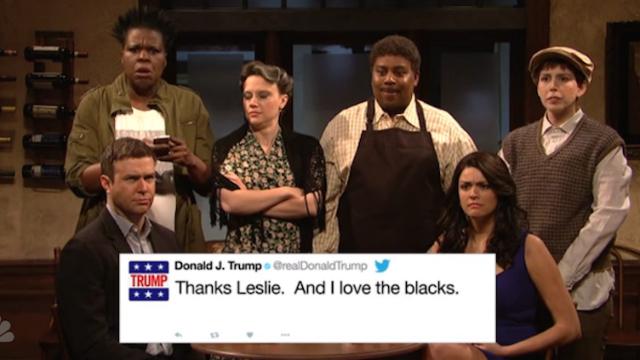 Donald Trump wasn't in one 'SNL' sketch last night, so he retaliated by live-tweeting it.