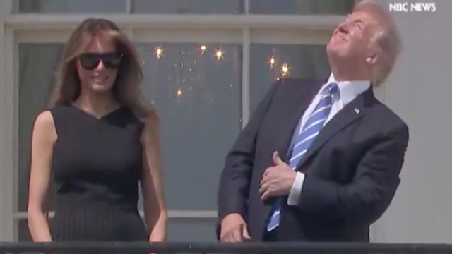 Trump stares directly into the solar eclipse, becomes instant meme.