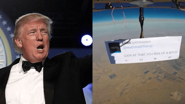 Someone is trolling Donald Trump from space because Earth protests aren't enough.
