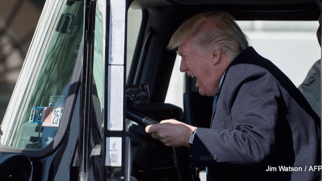 Donald Trump pretended to drive a truck and Twitter couldn't stop laughing.