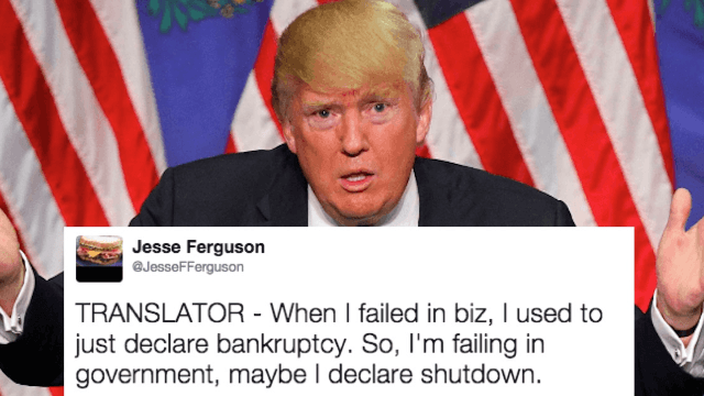 Donald Trump straight up called for a government shutdown in his morning Twitter tantrum.
