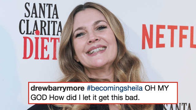 Drew Barrymore shows off gray roots and unibrow because, SURPRISE, women are human.
