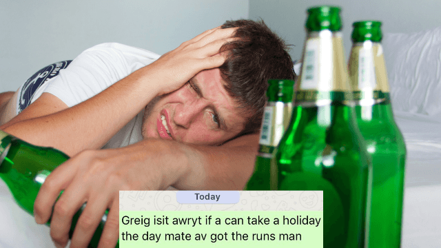 Guy partied so hard he forgot what day it was. His boss remembered.
