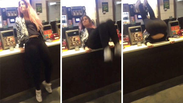 Drunk lady's attempt to flip backward over McDonald's counter ends poorly.