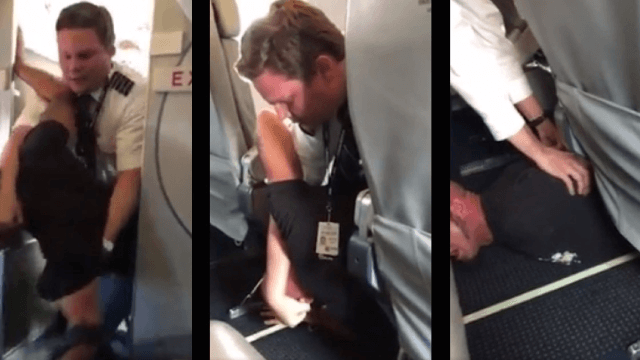 Drunk airline passenger subdued by pilot after attacking attendant and attempting to deplane early.