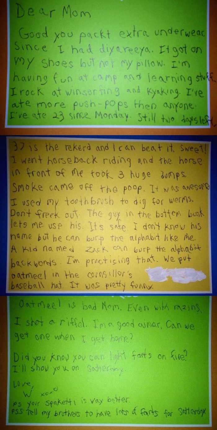 Hilariously Inappropriate Letters Kids Sent Home From Camp