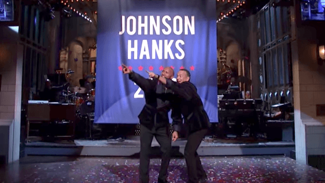 Dwayne Johnson and Tom Hanks become 'running mates' for the 2020 election during 'SNL' monologue.