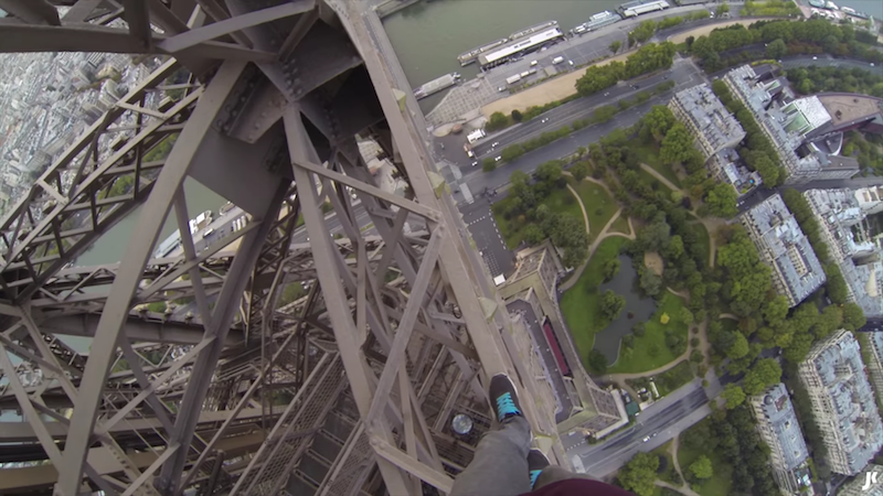 Wanna feel like you're about to die? Watch this GoPro video of a dude climbing the Eiffel Tower.