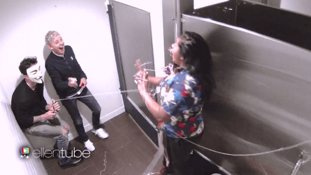 Ellen DeGeneres and Adam Levine scared the crap out of audience members in the women's room.