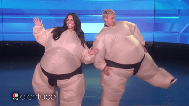 Demi Lovato and Ellen wore sumo suits to play charades, as you do.