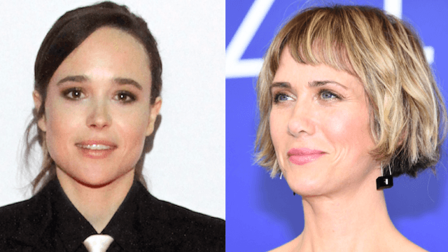 Ellen Page got a hilariously subtle tattoo in honor of Kristen Wiig. You'll have to squint.