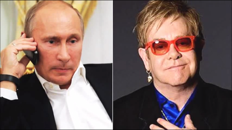 Russian comedians prank Elton John into thinking Vladimir Putin is calling to discuss gay rights.