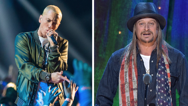 Eminem and Kid Rock were at the Pistons' opener last night. They got different reactions.