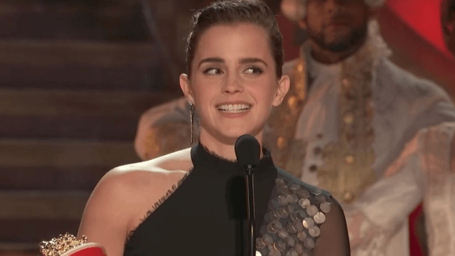 Emma Watson just beauty and the beasted three men to win Best Actor at the MTV Movie Awards.