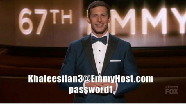 Andy Samberg gave everyone watching the Emmys a real HBO account password.
