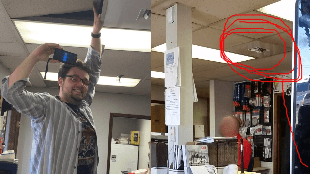 Employee hilariously pranks his co-worker with a hidden speaker and some disco music.