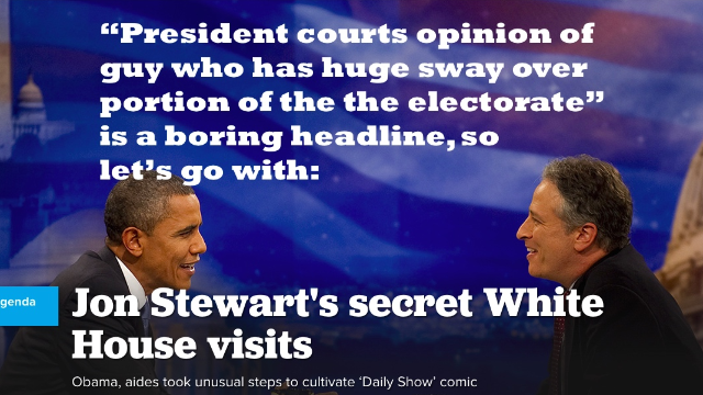 Otherwise great Politico article about Jon Stewart's legacy harms it with clickbait title.