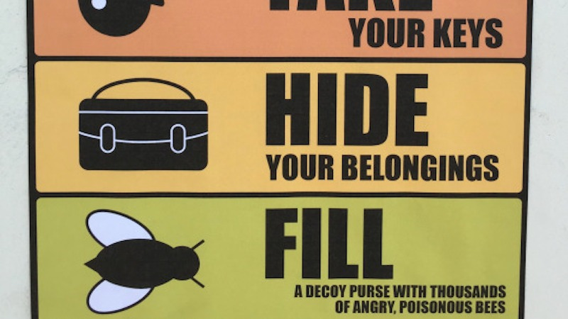 We wish these hilariously bizarre anti-theft signs a guy placed in a mall garage were real.