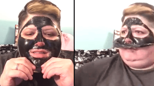 The internet is obsessed with this cringe-inducing video of a budget face mask gone wrong.