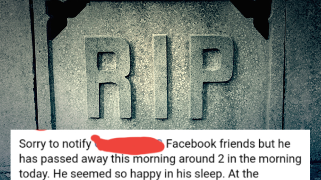 Guy fakes his own death on Facebook, probably for the likes.