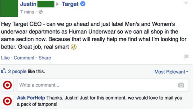 Guy pretends to be customer service so he can troll outraged idiots on Target's Facebook page.