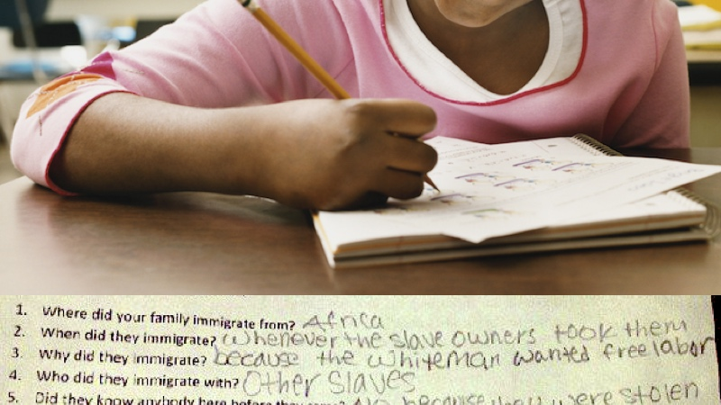Frustrated black student gives heartbreakingly honest answers to 'Family Origins' assignment.